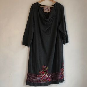 Johnny Was Grey Knit Embroidered Dress 3XL